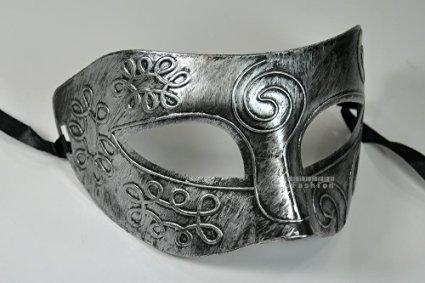 Silver Antique Greek Roman Warrior Men Venetian Mardi Gras Party Masquerade Mask - Event Party Ball Mardi Gars by Kayso -
