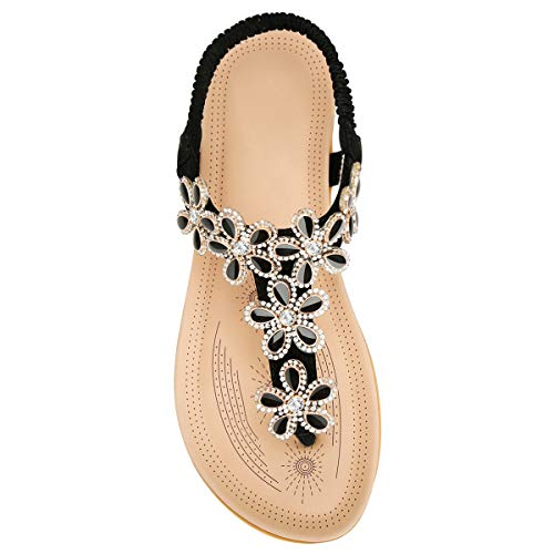 ZOEREA Ladies Sandals Peep Toe T-Strap Bohemia Women Sandals Flats Flip Flops Beach Holiday (7.5 M US, Black1) (Embellished Sandals T-strap)