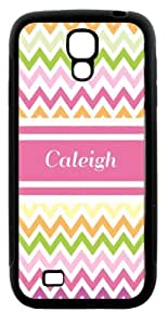 "Rikki KnightTM ""Caleigh\"" Pink Chevron Name Design Samsung\xae Galaxy S4 Case Cover (Black Hard Rubber TPU with Bumper Protection) for Samsung Galaxy S4"