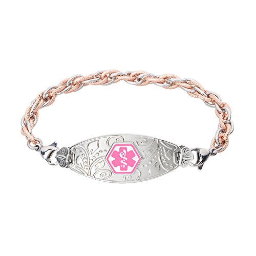 Divoti Custom Engraved Lovely Filigree Medical Alert Bracelet -Inter-Mesh Rose Gold/Silver Stainless -Pink-7.5'' by Divoti