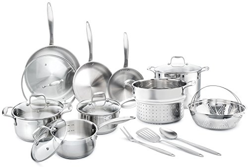 Elite 18/8 Stainless Steel 17-Piece Cookware Set – Professional Kitchenware Set, Rustproof & Dishwasher-Safe, Elegant Design & Safe Handles For All Cooking Purposes – Ideal Housewarming Gift