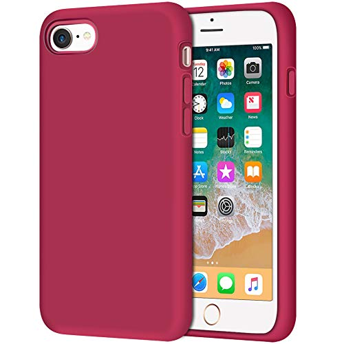 (iPhone 8 Case, Anuck Non-Slip Liquid Silicone Gel Rubber Bumper Case with Soft Microfiber Lining Cushion Hard Shell Shockproof Full-Body Protective Case Cover for Apple iPhone 7/8 4.7