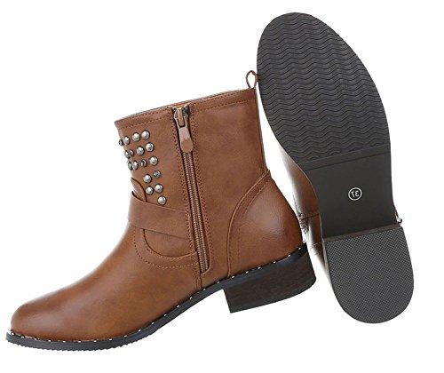 Damen Schuhe Stiefeletten Boots Camel
