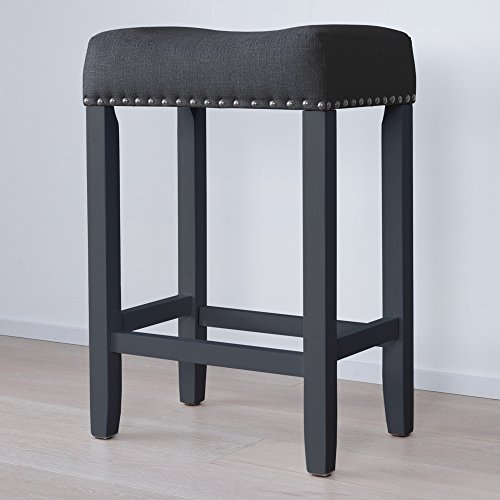 "Nathan James 21304 Hylie Nailhead Wood Pub-Height Kitchen Counter Bar Stool 24"", Black"