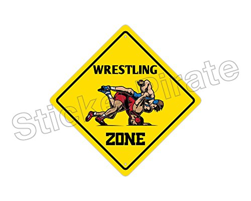 StickerPirate Wrestling Zone Funny Metal Novelty Sign Aluminum (Wrestling Zone Novelty Sign)