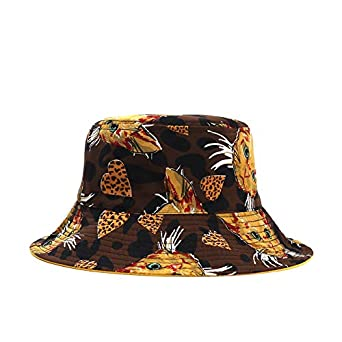 Womens Print Bucket Hats Reverse Side Front Side Flat Caps Ladies Spring Summer Casual Sun Hat