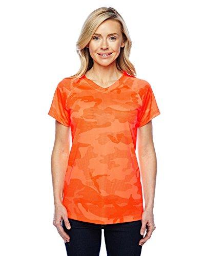 Orange Womens Cut T-shirt - Champion Women's Essential Double Dry V-Neck T-Shirt_Safety Orange Camo_L