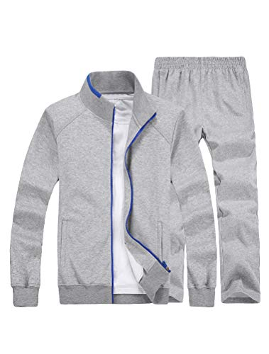 Lavnis Men's Casual Tracksuit Long Sleeve Full Zip Running Jogging Athletic Sports Set XL Gray