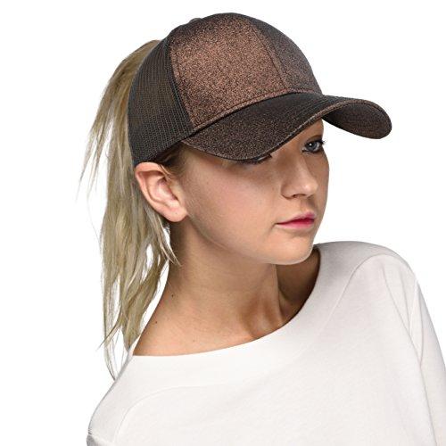 Hatsandscarf C.C Ponytail caps Messy Buns Trucker Plain Baseball Cap (BT-6) (Glitter-Bronze),One ()