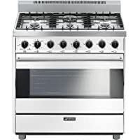 Smeg C36GGBU 36 Classic Series Gas Range with 4.4 cu. ft. Capacity 6 Sealed Burners 3 Cooking Modes Double Convection Electronic Automatic Ignition and Adjustable Legs in