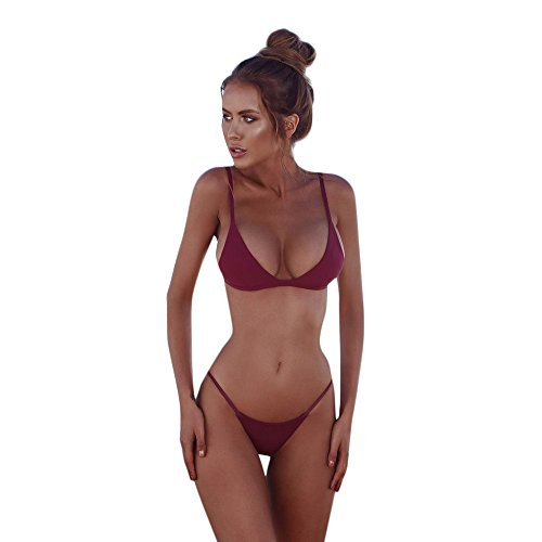 Terry Bandeau (HYIRI 2019 New Women's Bandeau Elegant Bandage Lovely Bikini Set Push-Up Brazilian Swimwear Beachwear Swimsuit Wine Red)