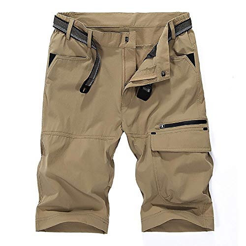(Men's Outdoor Tactical Shorts Lightweight Expandable Waist Cargo Shorts with Multi Pockets Quick Dry Water Resistant,#16962,Khaki,US 32/Tag 2XL)