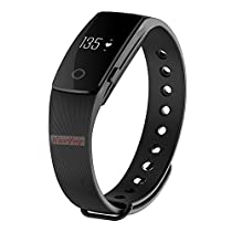 Nicequip TM ID107 Heart Rate Monitor,Bluetooth Smart Bracelet Sleep/Activity Tracker/Calorie Counter Running Timer Smart Watch Health Fitness Tracker for Android iOS Smartphone (107 Black)