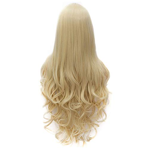 (Flovex Women Long Wavy Cosplay Wigs Ladies Sexy Natural Costume Club Party Daily Hair with Wig Cap (Blonde))