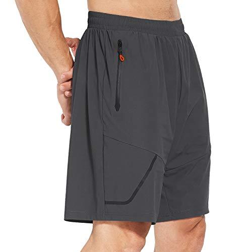 Baleaf Men's Cool Running Shorts Quick Dry Sports Shorts Seamless Zip Pockets Grey/XXXL
