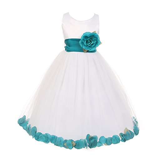 Cinderella Couture Little Girls White Teal Petal Adorned Dull Satin Tulle Flower Girl Dress 4 (Satin White Dress Tulle Petals)