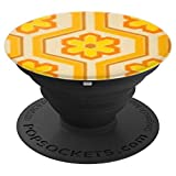 70s Retro Wallpaper Yellow Flowers Floral Print - PopSockets Grip and Stand for Phones and Tablets