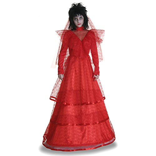 Kacm Halloween Adult Womens Red Gothic Wedding Dress -