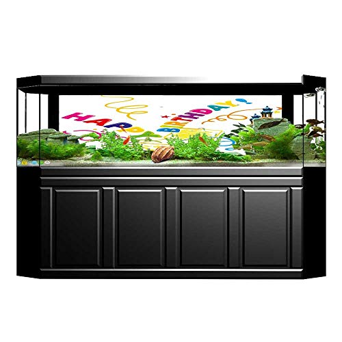 Jiahong Pan Decorative Aquarium Background Surprise in a Box Doodle Style Cheerful Spirals Confetti and Stars Decal Sticker Home Decor Art L23.6 x H15.7