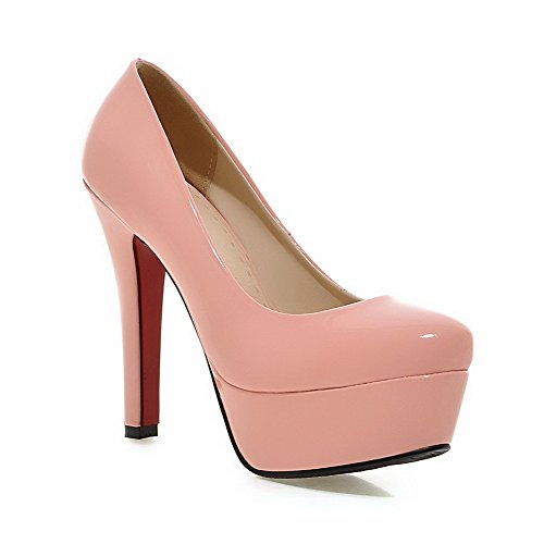 VogueZone009 Women's Solid PU High Heels Round Closed Toe Pull On Pumps Shoes Pink snA1i94dZ