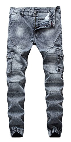 FEESON Men's Retro Washed Grey Patched Side Pocket Cargo Biker Jeans W34