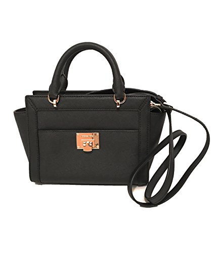 Michael Kors Women's TINA Small Top Zip Messenger leather shoulder Handbag Black ()