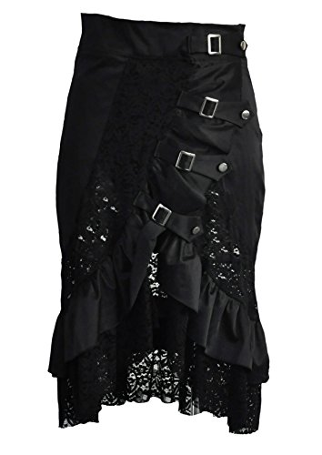 Coswe Women Black Steampunk Gothic Gypsy Hippie Lace Party Skirt (2XL fits Waist 34.2