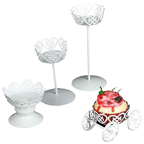 Cupcake Stand, Botitu 4pcs Mini White Dessert Stand with Premium Steel Material Cupcake Display, Perfect for Birthday, Baby Shower, Thanksgiving, Christmas, Graduation and Wedding Cake Stands