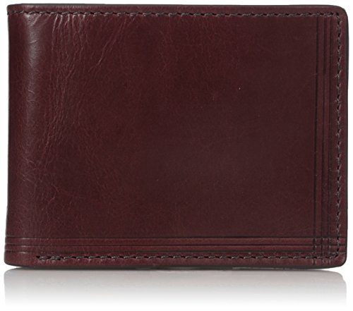 Fossil Embossed Wallet - Relic by Fossil Men's Bowen Rfid Blocking Embossed Bifold Leather Wallet, cordovan, One Size