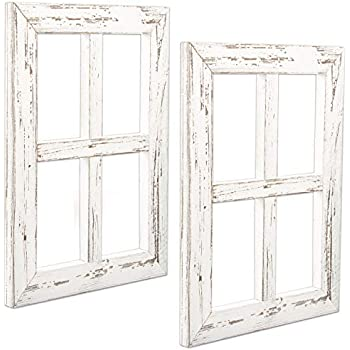 Ilyapa Window Frame Wall Decor 2 Pack - Rustic White Wood Window Pane Country Farmhouse Decorations