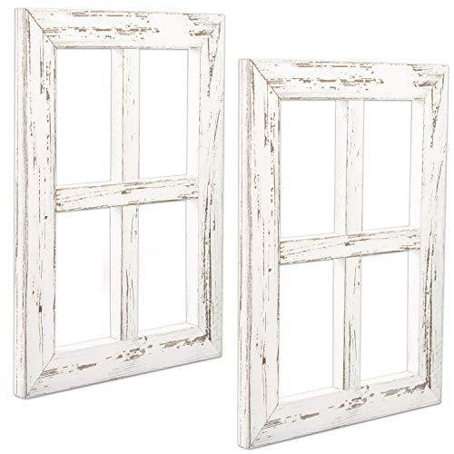 Ilyapa Window Frame Wall Decor 2 Pack - Rustic White Wood Window Pane Country Farmhouse Decorations (Frame Window)