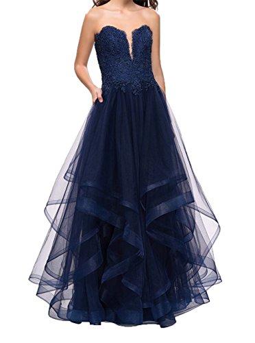 Navy Blau Charmant A Herzausschnitt Damen Brautmutterkleider Linie Traube Partykleider Lang Abendkleider Festlichkleider qgTCwvqx