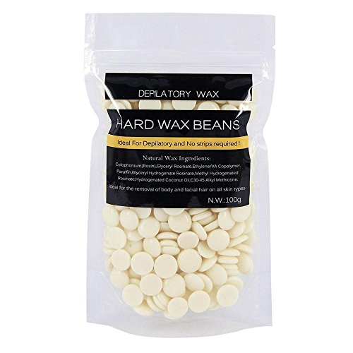 Hard Wax Beans, Aolvo Natural Solid Heating Hair Removal Wax Beans Body Hair Removal Wax, Facial, Arms, Armpit, Legs Depilatory Wax for Women and Men Use - Cream