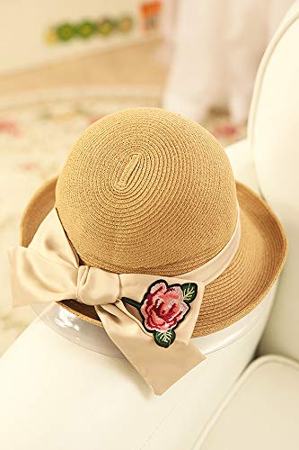 Straw hat Cap Women Girls Summer Dome Small Basin Cap Ball Curling Ribbon Embroidery Bow Sweet Straw Points (m638 Dark Coffee Color