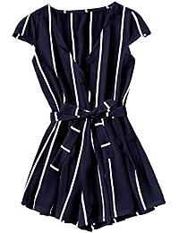 Women's Casual Vertical Striped Jumpsuit Romper With Belt