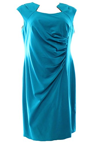 Sleeves Cocktail Plus Calvin 22W Klein Cap Dress Pleated Womens Blue XPwXBqxRv