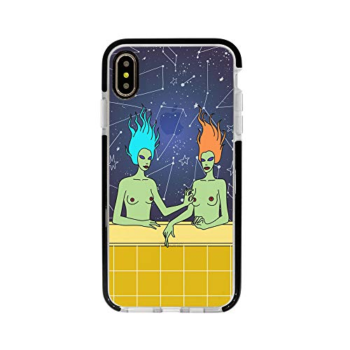 Ultra Slim iPhone Case - Silicone Protective Cover - Compatible for iPhone X/iPhone Xs - NPples Sister Art - Two Sisters Painting - Tattoo Art - Funny - Black Flexible Soft TPU Cover Case]()