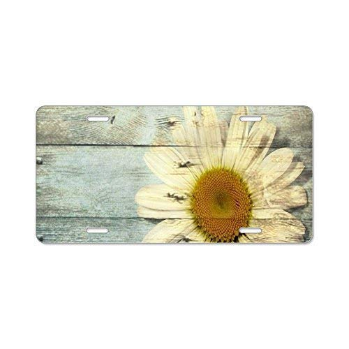 Happylicenseplateframeaa Shabby Chic Country Daisy License Plate Cover Novelty Metal License Plate for Front of The Car Vanity ()