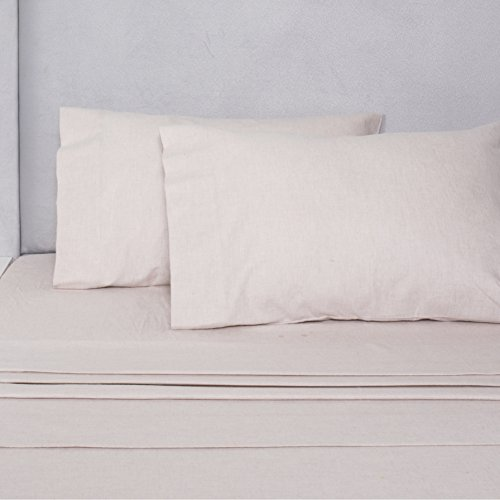 Melange Home Flannel Sheet Set Yarn Dyed Cotton, Queen, Oatmeal, 4 Piece