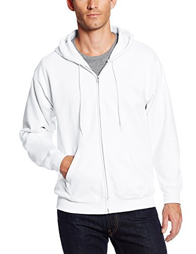 Hanes Men's Full-Zip EcoSmart Fleece Hoodie, White, X Large ()