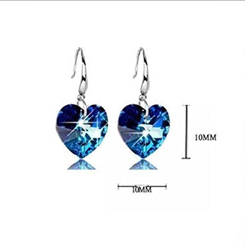 Fashion Jewelry Blue Silver Plated Hook Rhinestone Ear Studs Hoop Earrings
