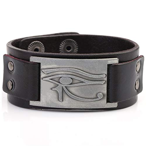(My Shape Eye of Horus Ra Thoth Udjat Leather Cuff Bracelet Egyptian Amulet Pagan Jewelry (Antique Silver,Brown))