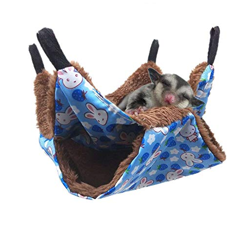 Oncpcare Pet Cage Hammock, Bunkbed Sugar Glider Hammock, Guinea Pig Cage Accessories Bedding, Warm Hammock for Small Animal Parrot Sugar Glider Ferret Squirrel Hamster Rat Playing Sleeping