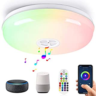 LED Smart Ceiling Light Fixtures 24W Wifi Flush Mount light with Bluetooth Speaker,Compatible with Alexa & Google Assistant,Dimmable, Multicolor,Voice Control & APP& Remote Control,For Kitchen Bedroom