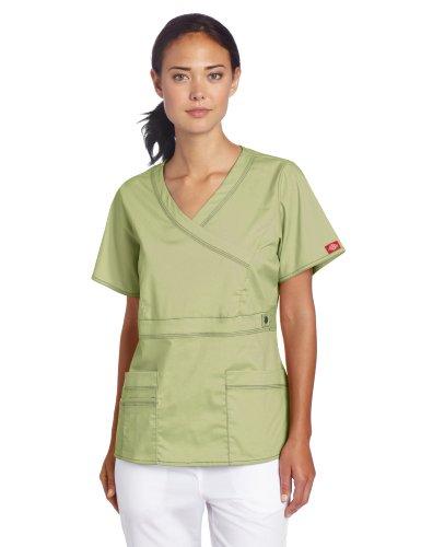 - Dickies Scrubs Women's Gen Flex Junior Fit Contrast Stitch Mock Wrap Shirt, Desert Sage, Small