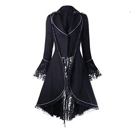 Kstare Steampunk Coat Casual Jackets Retro Victorian Punk Women Long-Sleeved Waist Back Bandage Over Coat Skirt Black