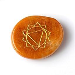 TGS Gems Reiki Chakra Stones with Chakra Case Stones with Engraved Symbols, Set of 7