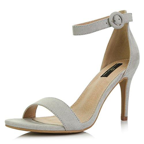DailyShoes Women's Stilettos Open Toe Pump Ankle Strap Dress High Heel Sandals, Grey Suede, 7.5 B(M) US (Peep Platform Toe Suede Pumps)