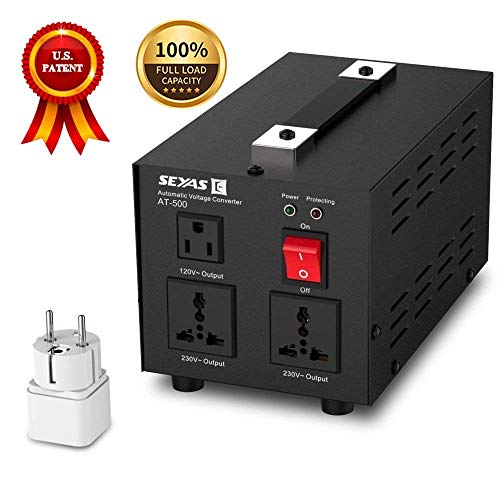 SEYAS 500W Auto Step Up & Step Down Voltage Transformer Converter , 110-120 to 220-240 Volts, Soft Start & Full Load, 7x24hrs Continous Run, Circuit Breaker Protection, U.S. Patent No. US9225259 B2 (Voltage Uk Transformer)