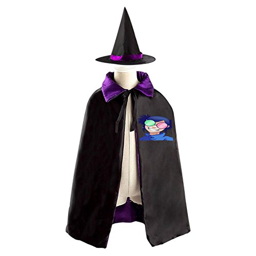 Gorillaz Noodle Phase 4 Kids Halloween Witch Cape Cloak Wizard Cap Hat Sets purple